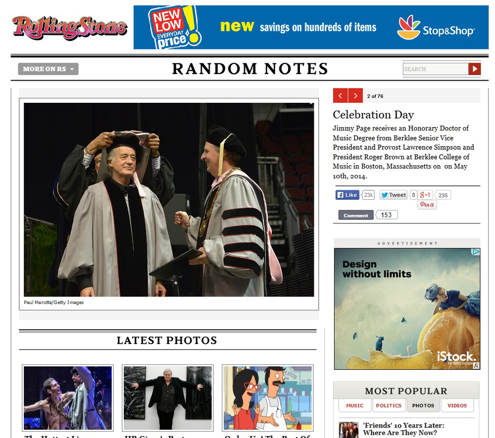Jimmy Page at Berklee Commencement Rolling Stone