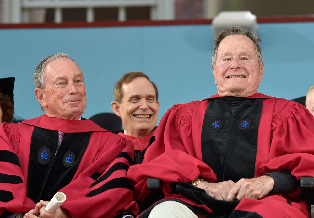 Michael Bloomberg and George H.W. Bush at Harvard Commencement 2014