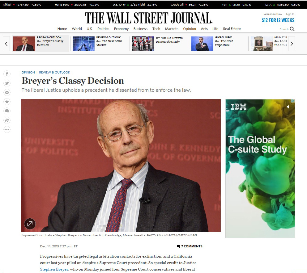 U.S. Supreme Court Justice Stephen Breyer  Wall Street Journal