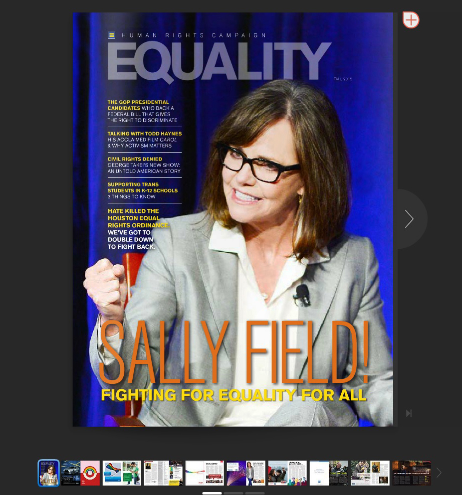 Sally Field on the cover of EQUALITY Magazine