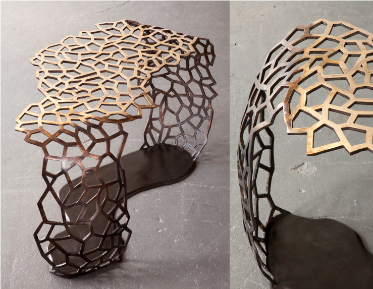 Lattice table made with bronze