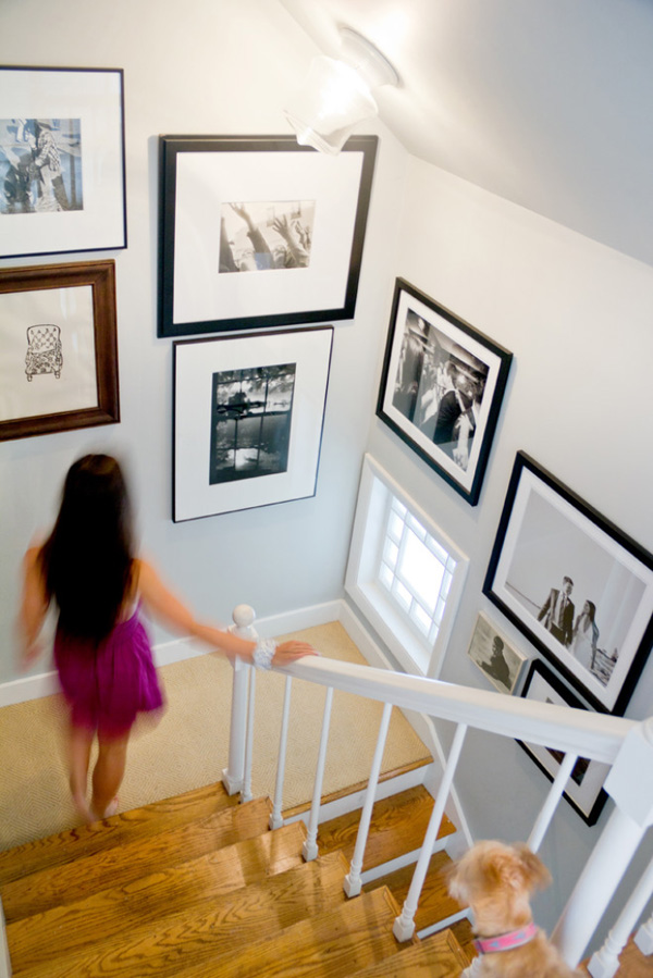 Gallery walls work great going down a staircase