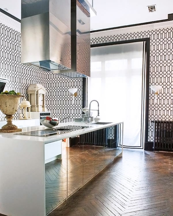 Kitchen cabinet mirrored doors!