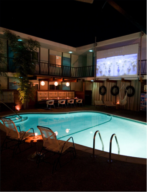 One of the best features is a Dive-In Theater.  Yes, DIVE-In.  The hotel shows an array of eclectic film selections that can be watched from the poolside lounge area located   in the center of the hotel.  This is definitely on my list of cool hotels to check out.