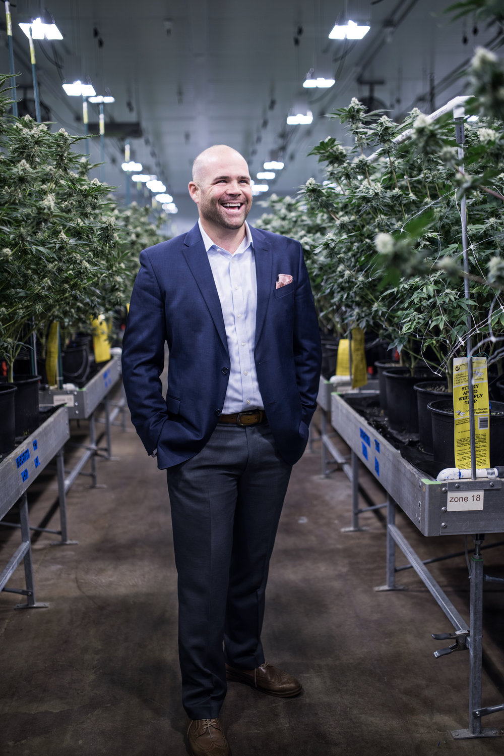 Joe Devlin in a new high tech grow farm