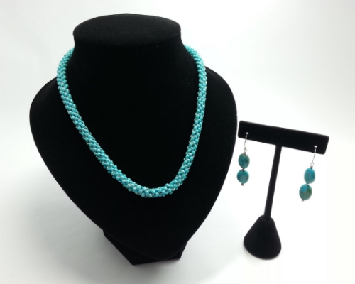 Hand Beaded Necklace with Matching Turquoise Earrings