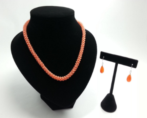 Hand Beaded Orange Necklace w/ Carnelian Earrings