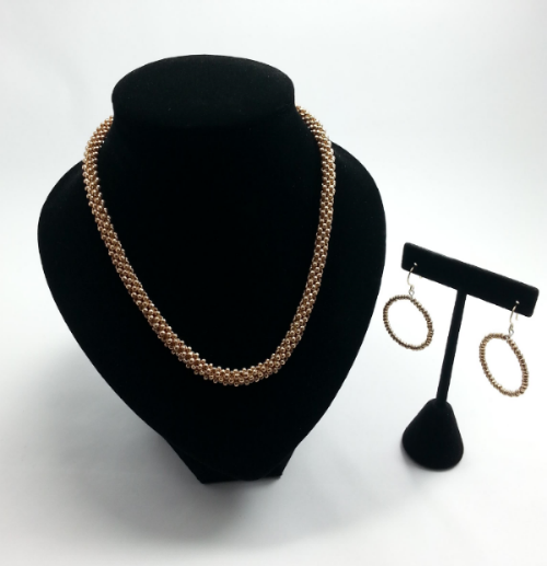 Antique Gold Beaded Necklace & Hoop Earrings