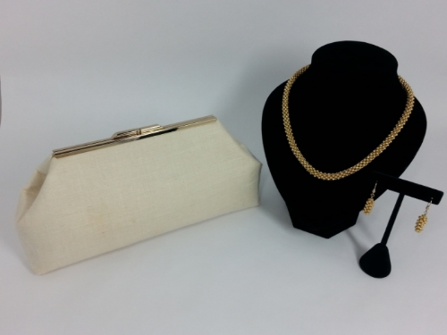 Classical Elegance - Hand Beaded Gold Necklace and Matching Earrings with a Coordinating Linen Clutch Handbag - Jasmine