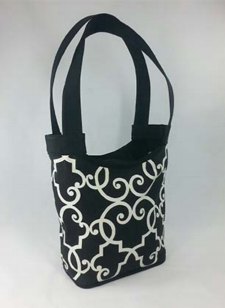 Tara - Black and White Cotton Handbag with Black Linen Straps/Contrast