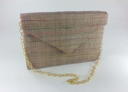 Beige Raw Silk Envelope Clutch
