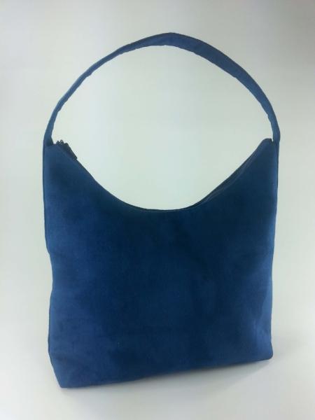 Blue Faux Suede Handbag