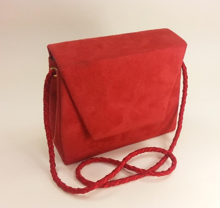 Amarah - Red Suede Cloth Handbag w/ Hand Crocheted Strap