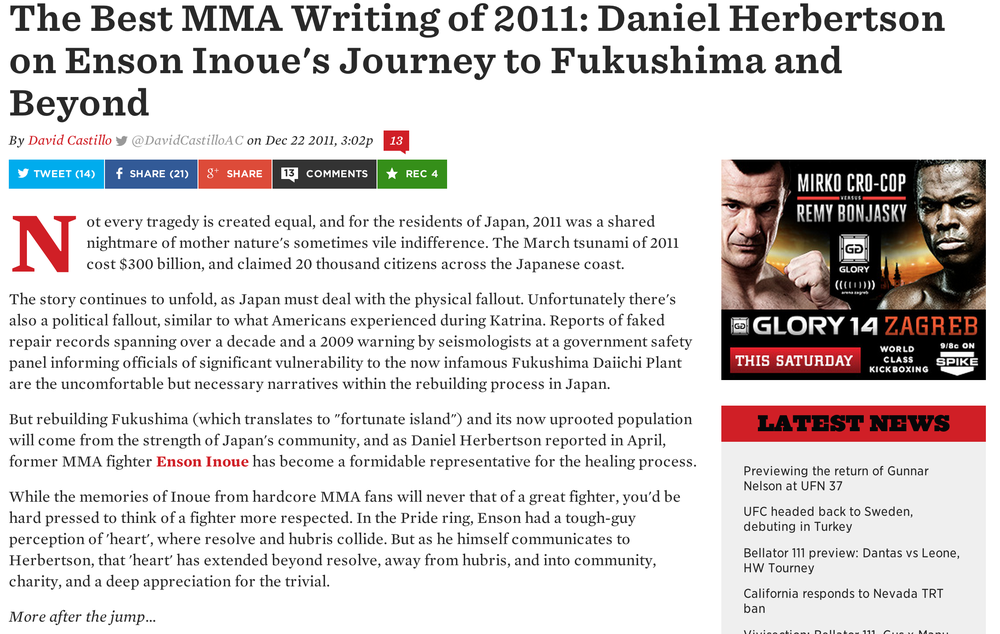 The best MMA writing of 2011: Daniel Herbertson on Enson Inoue's journey to Fukushima and beyond By David Castillo  December 22, 2011