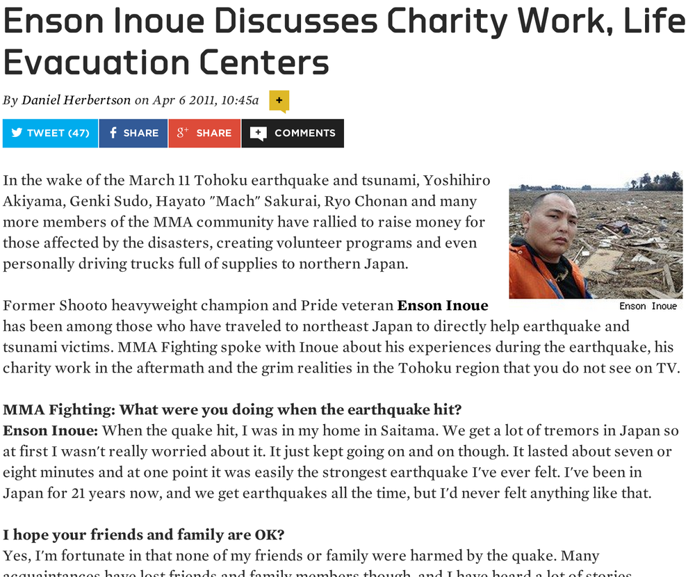 Enson Inoue Discusses Charity Work, Life in Evacuation Centers   By Daniel Herbertson Apr 6, 2011