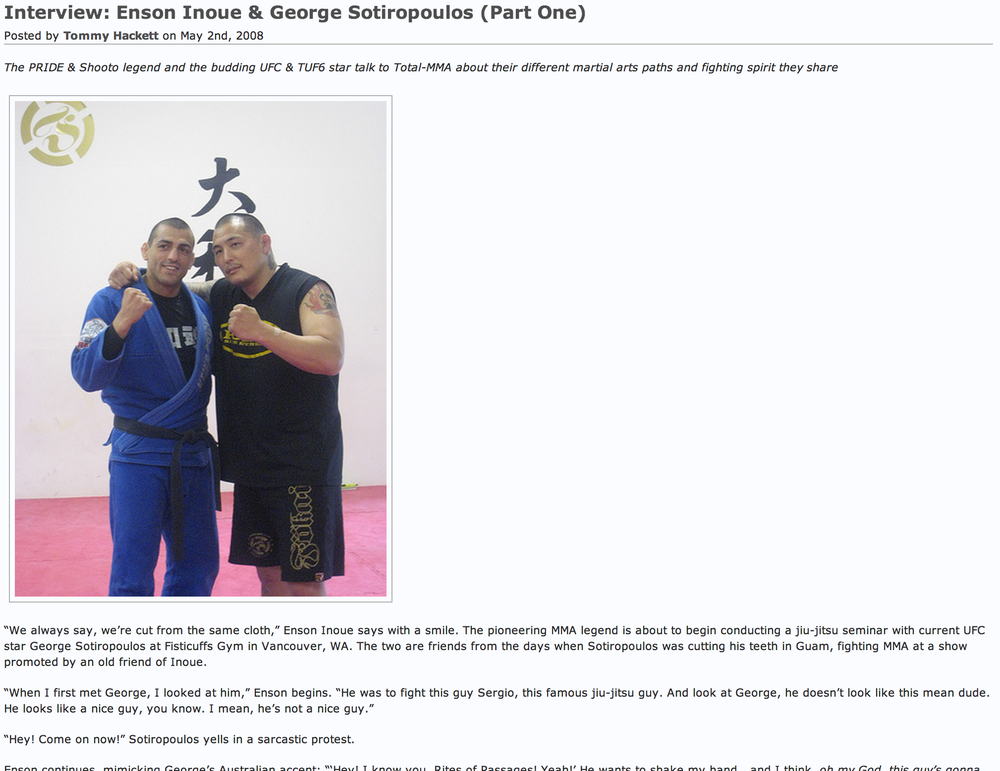 Interview: Enson Inoue & George Sotiropoulos (Part One)  By Tommy Hackett May 2, 2008