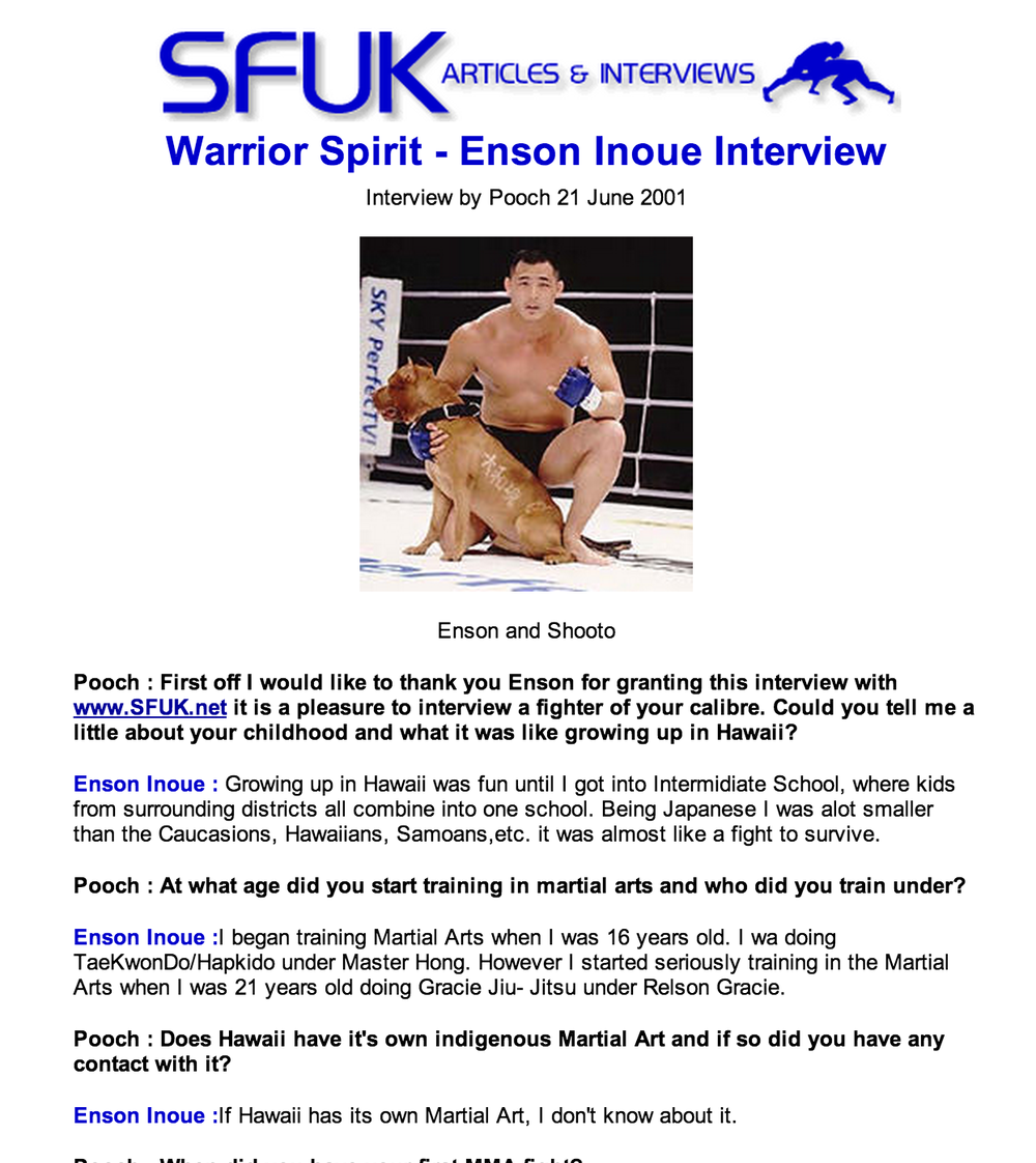 Warrior Spirit – Enson Inoue Interview  By Pooch | June 21, 2001