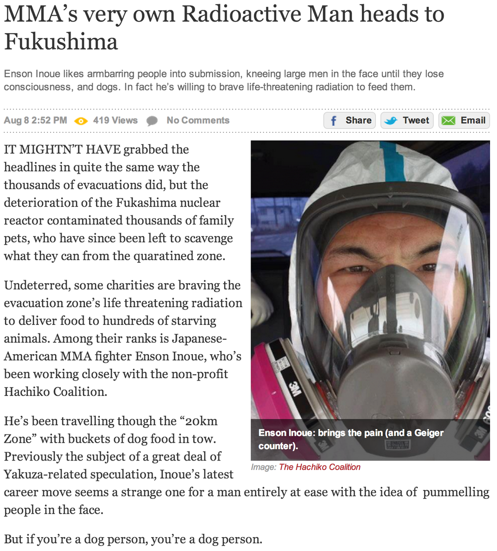 MMA's very own Radioactive Man heads to Fukushima By The Daily Edge August 8, 2011