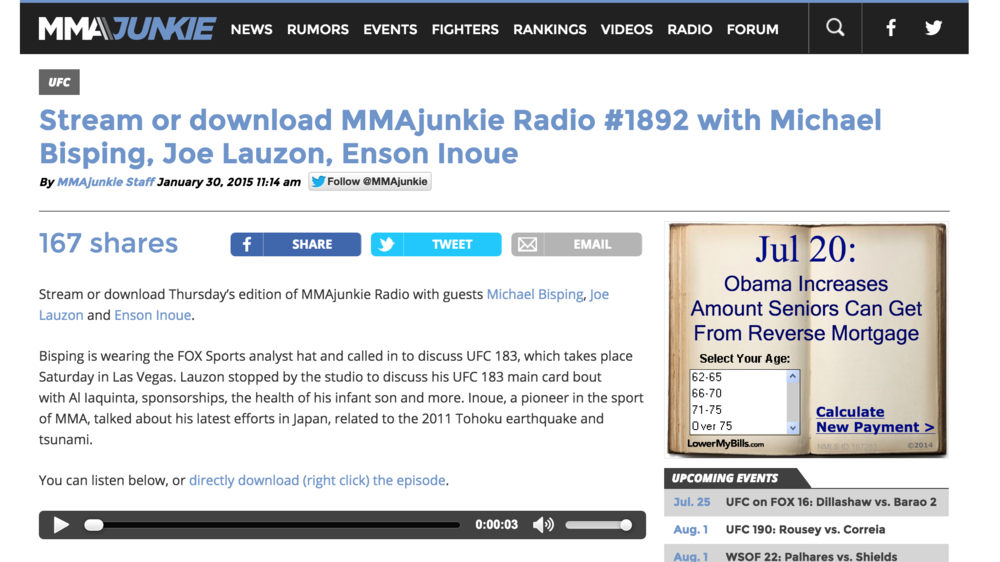MMA Junkie Podcast January 2015