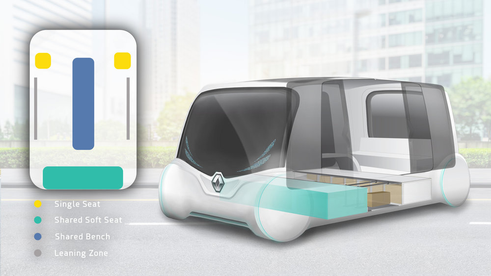 Instead of loading the entire vehicle, Renault Commute has 2 portable cargo pods that can be loaded when passing by a service centre, or it can be simply filled up as it travels around the city. The vehicle can carry up to 12 people, allowing the user to choose whether they prefer individual seating, a bench or leaning against the side bars. They also will be able to select the level of urgency/priority for each ride, adjusting the cost to the amount they see fit.