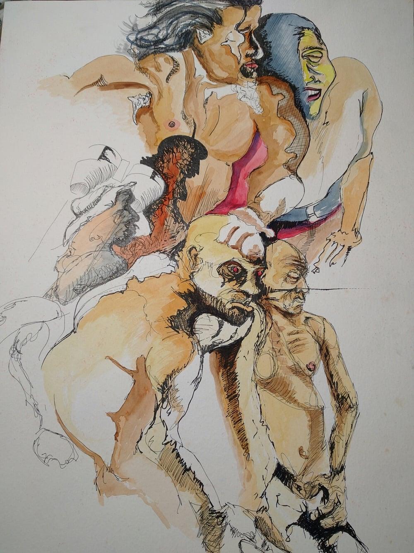 devil in man - watercolor