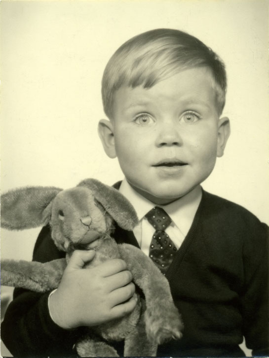 German boy with toy rabbit
