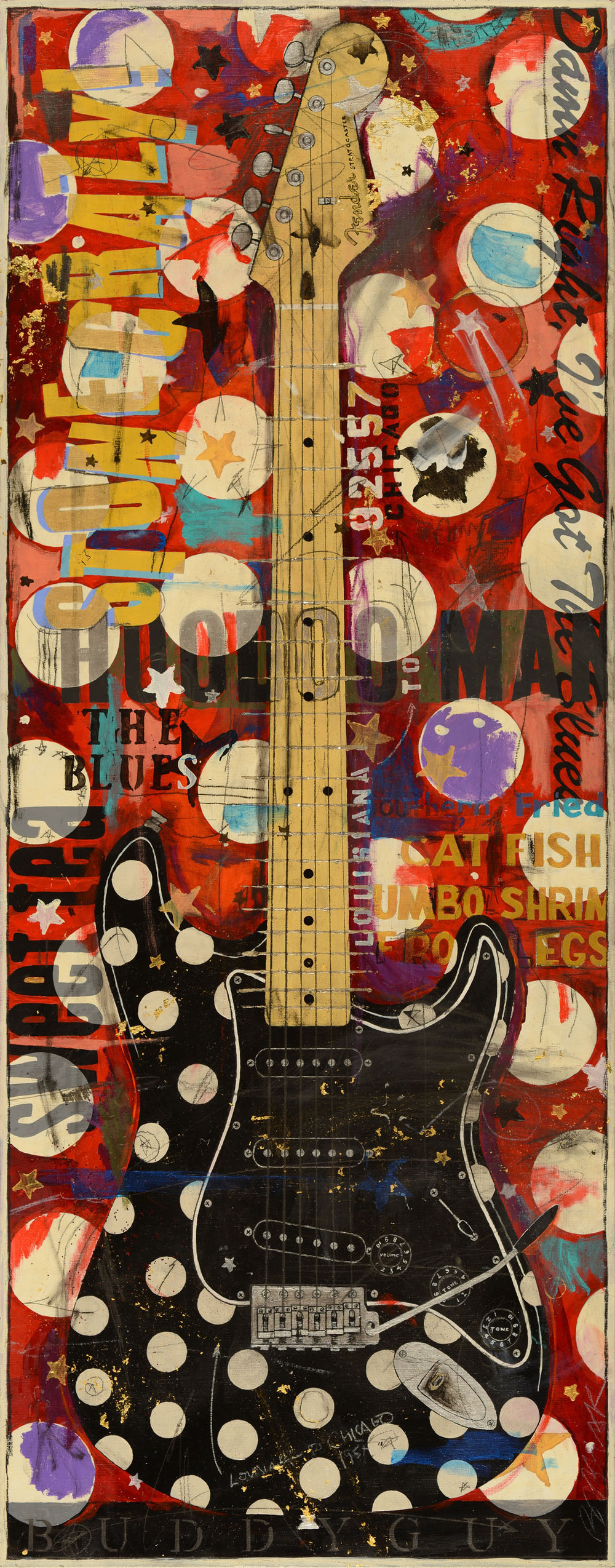 SOLD ///  Buddy Guy's Polka Dot Stratocaster  • 49 X 20 • mixed media // resin coated & framed