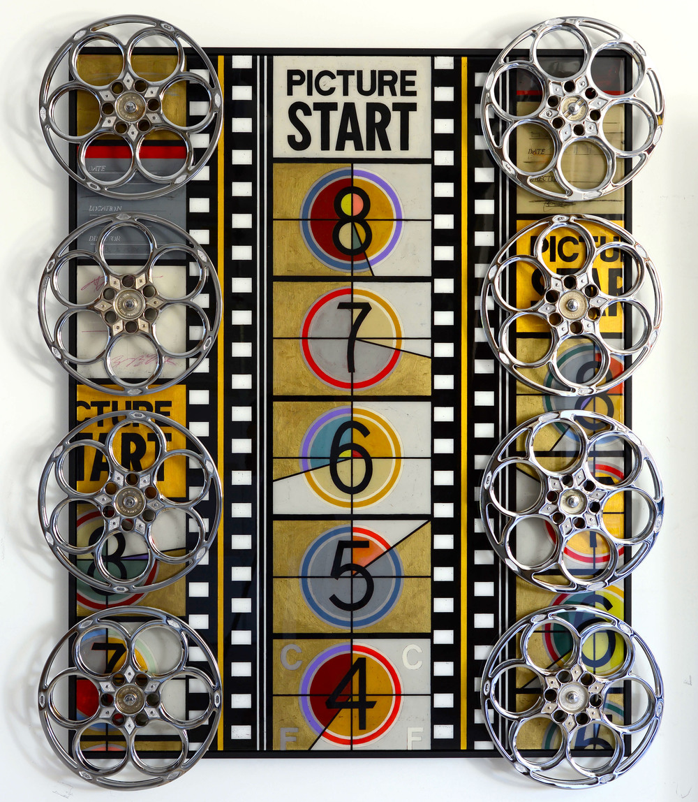 SOLD /// Picture Start • 63 X 51 • vintage chromed 35mm film reels + mixed media on panel // resin coated and framed