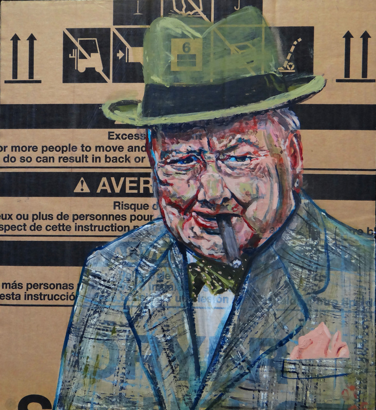 SOLD /// Container X (Churchill) • 20 X 21 • 2012 • Acrylic on Cardboard