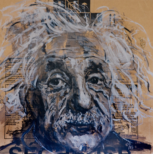 SOLD ///  Dishwasher V (Black & White Einstein)  • 29 X 29 • 2012 • Acrylic on Cardboard