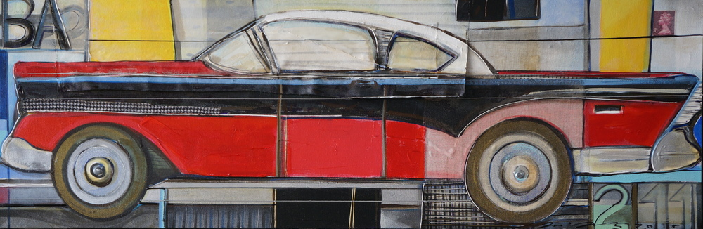 Buick Roadmaster  • 19.5 X 59 • mixed media on multilayered canvas