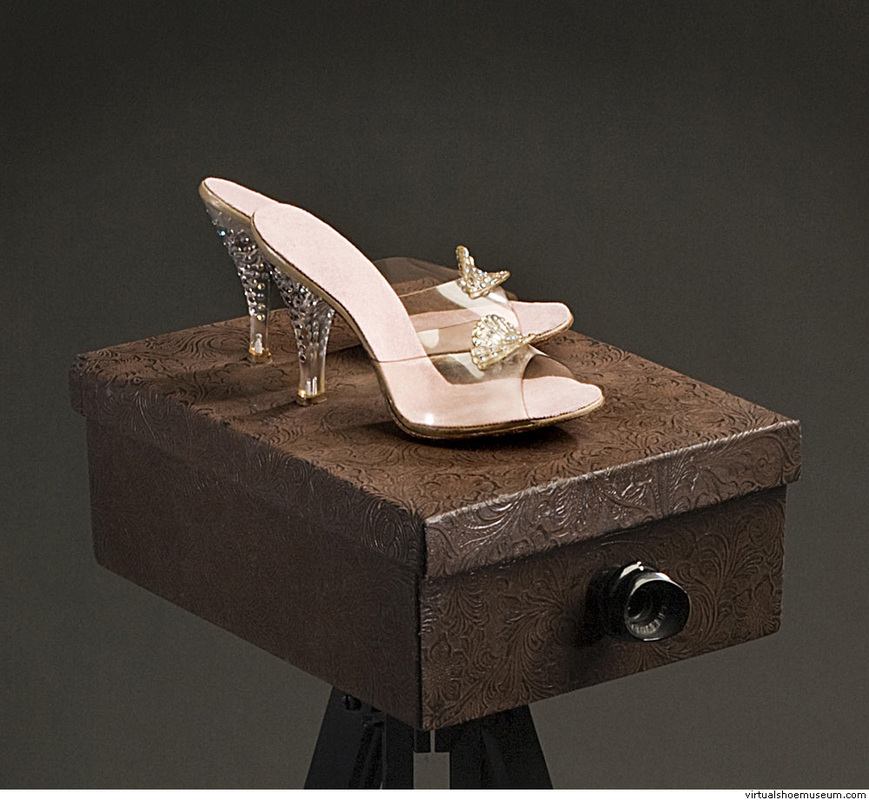Shoe Box   56 X 37 X 37  handmade box, reconstructed vintage shoes, tripod, eyepiece, light