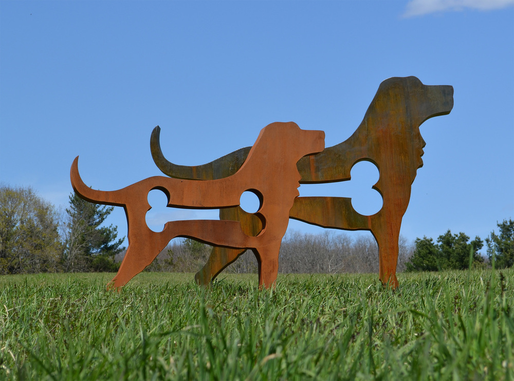 American Dog  dimensions variable • cor-ten steel 3′ H x 4′ W x 6″ D 4′ 5″ H x 6′ 2″ W x 8″ D 6′ H x 8′ W x 8″ D 8′ H x 10′ W x 11″ D