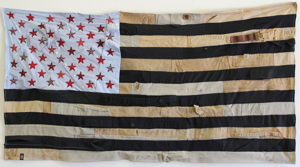 SOLD /// Flag #1 • 24 X 45 • Carpenter's Pants, Suits, Collared Shirts, Neckties