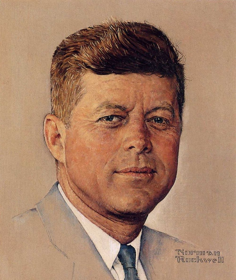ROCKWELL • Portrait of John F. Kennedy (1960) • 16 x 12 •  Oil on Canvas