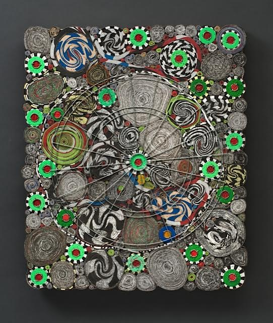 Celebration • 20 X 16.75 X 1.25 • reclaimed dartboard paper on board