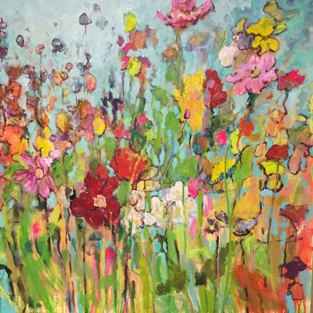Wild Flowers  • 36 X 36 • mixed media on panel