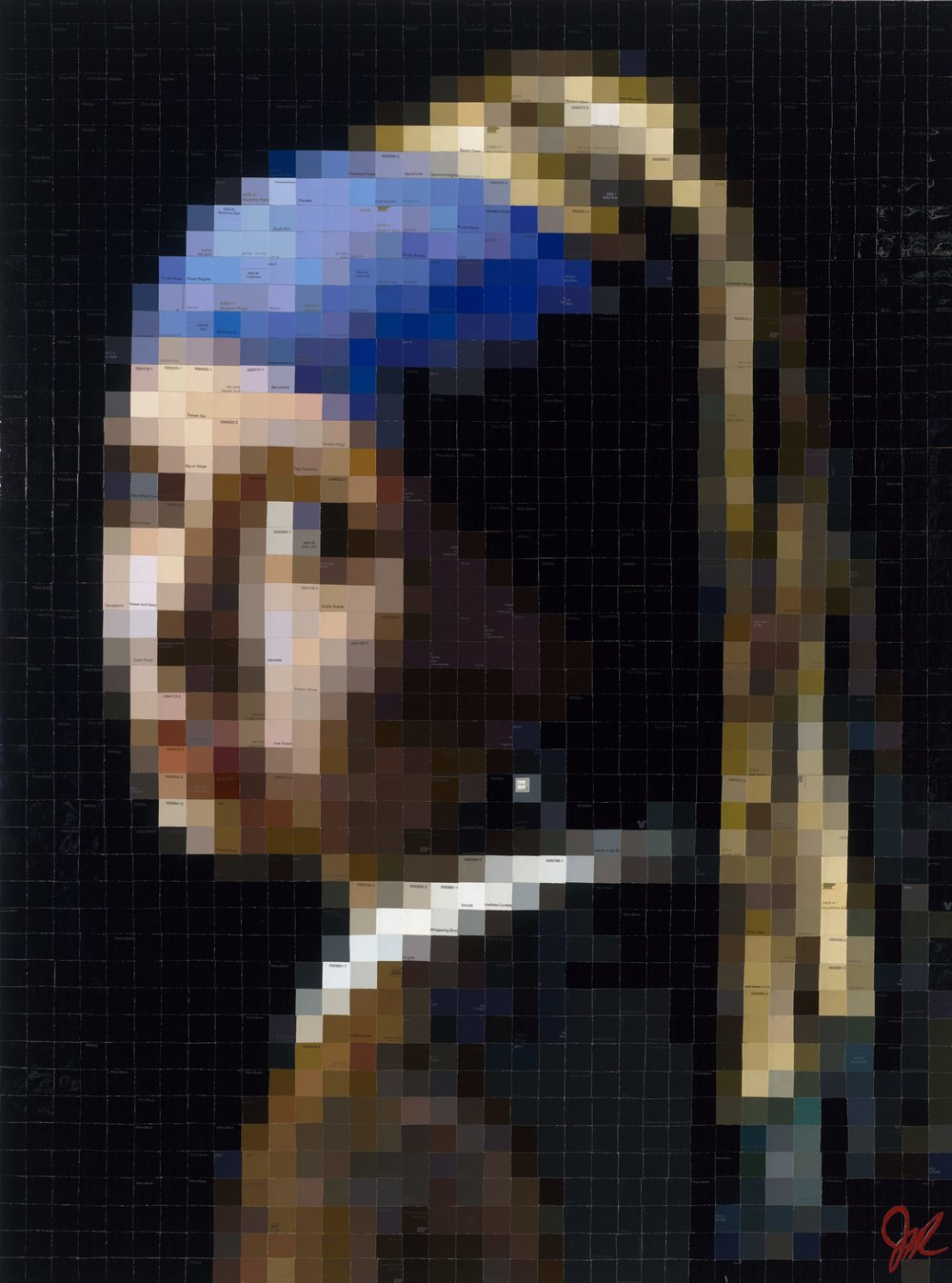 SOLD /// Girl with the Pearl Earring [After Vermeer] • 48 X 36 • paint swatch (paper) collage on panel