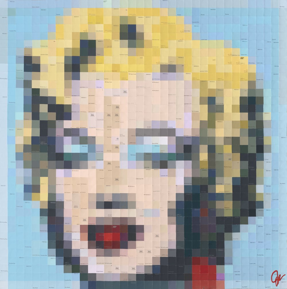 Marilyn [After Warhol] • 36 X 36 • paint swatch (paper) collage on panel