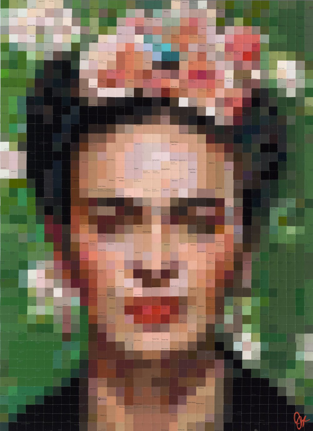 Frida with Pink Begonias • 48 X 36 • limited edition (25) embellished print on panel