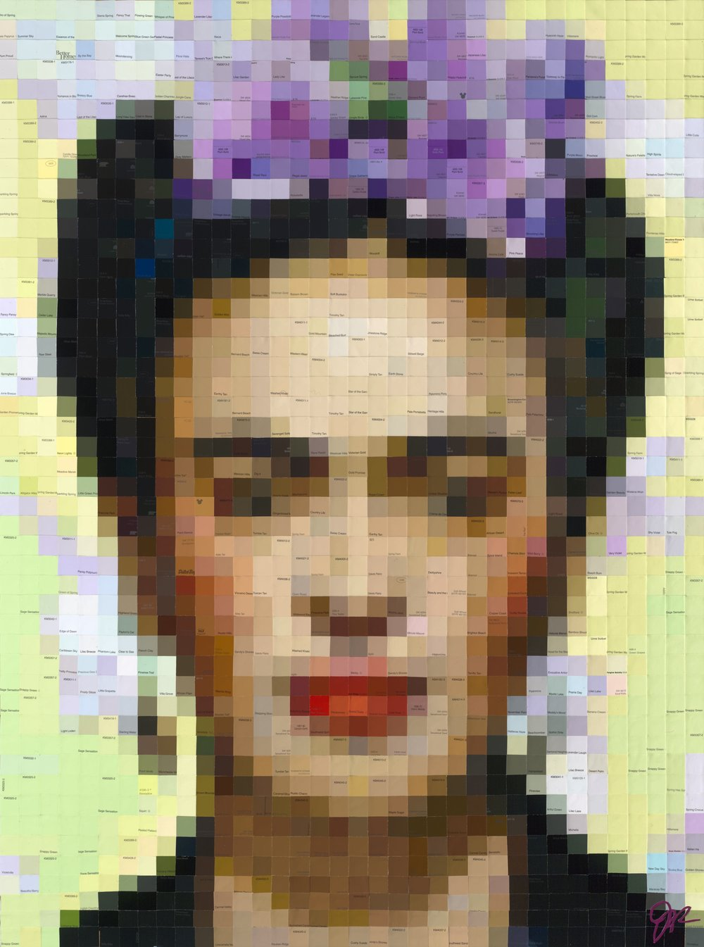 Frida with Lavender Begonias • 48 X 36 • limited edition (25) embellished print on panel