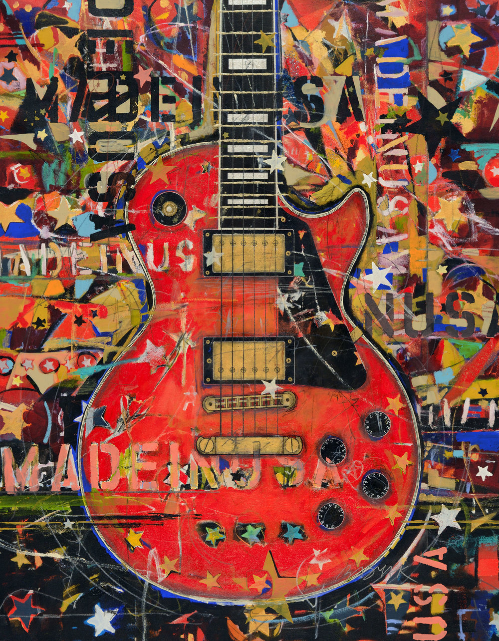 Red Les Paul • 54 X 42 • Acrylic, graphite, glitter, 24K gold leaf, silver leaf, polymer netting on canvas