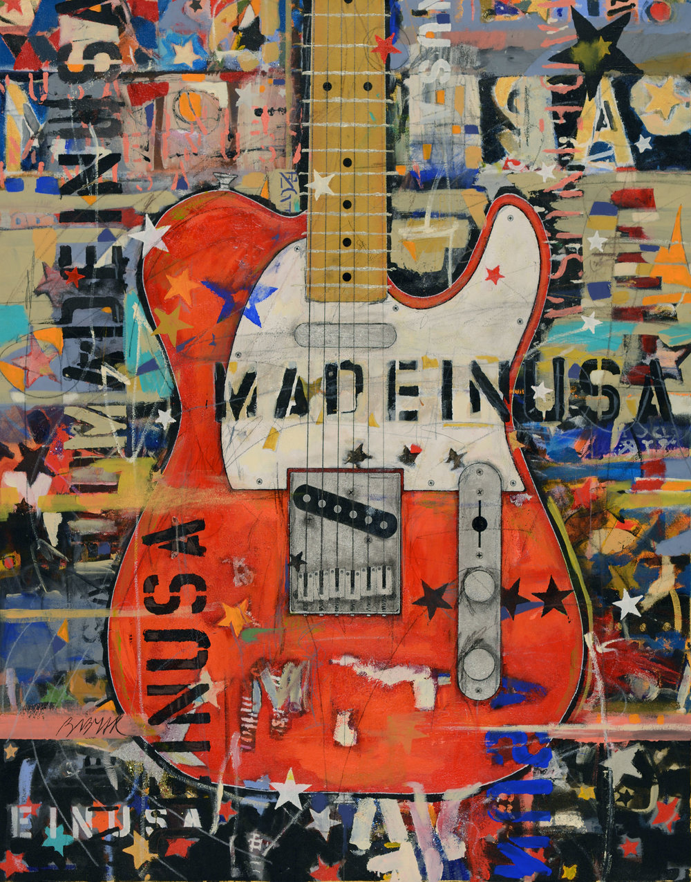 Red Telecaster • 54 X 42 • Acrylic, graphite, glitter, 24K gold leaf, silver leaf, polymer netting on canvas