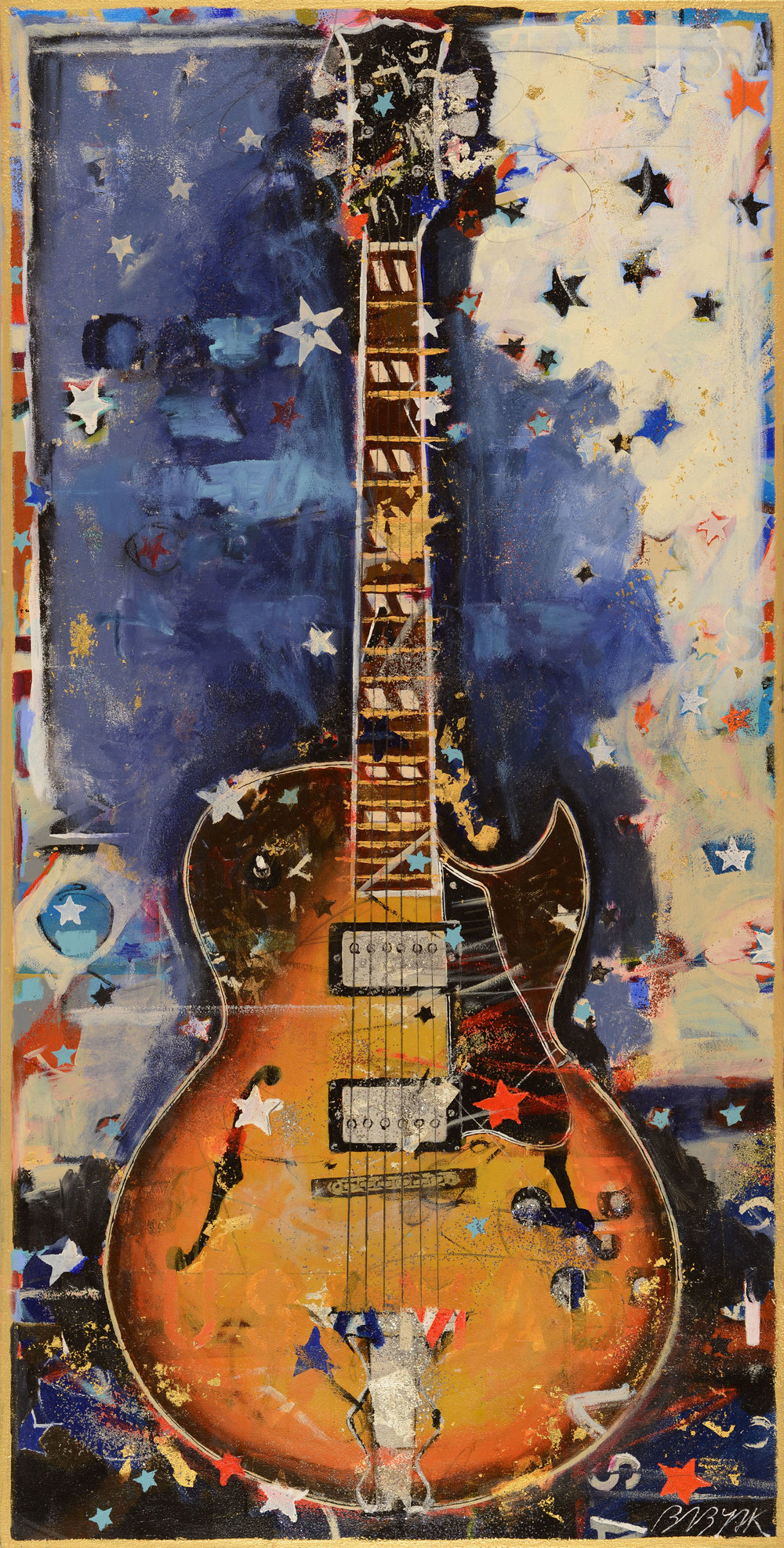Tobaccoburst Hollowbody • 57 X 29 • Acrylic, graphite, glitter, 24K gold leaf on canvas