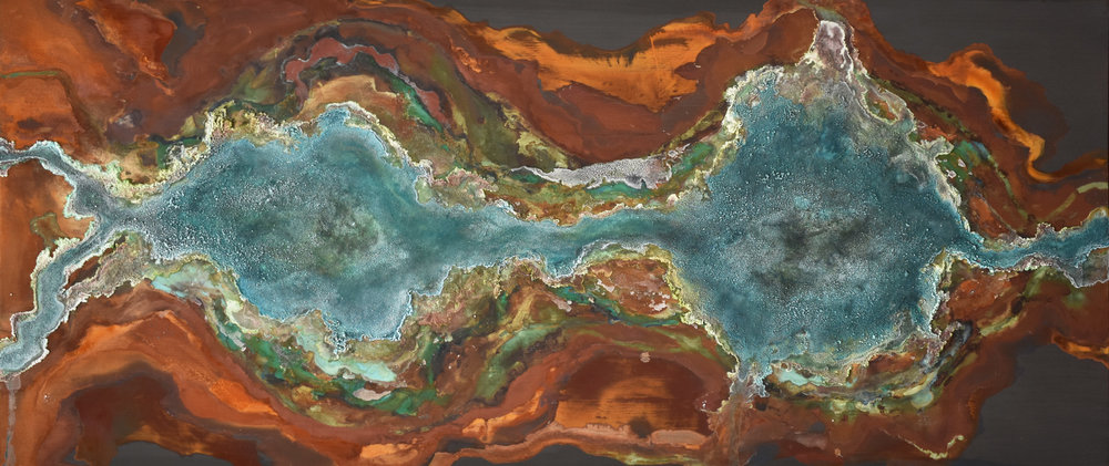 SOLD /// Confluence • 36 X 84 • minerals on panel