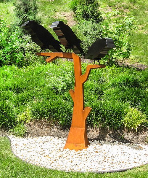 "Three Crows in a Tree • 67"" X 40"" X 23"" • Cor-Ten Steel with Painted Steel Crows"