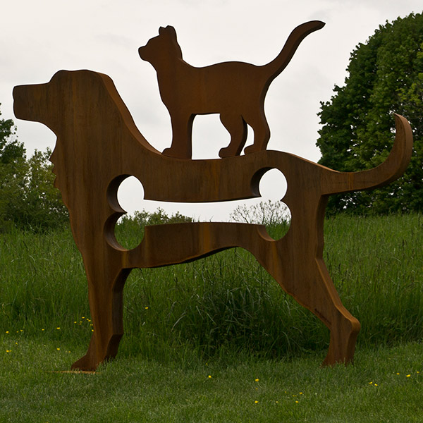 "Dog & Cat  6'9""H x 8'0""W x 9"" D  cor-ten steel"