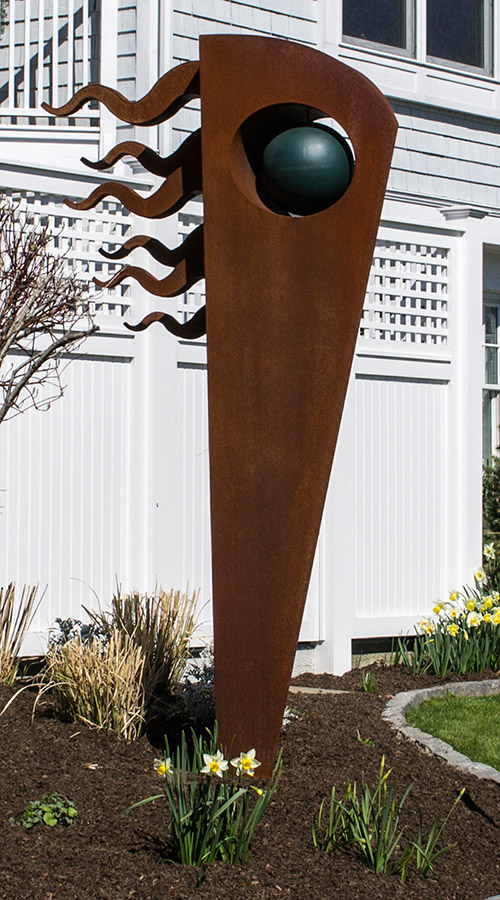 "Owl • 7'10"" H x 4'8"" W x 2'0"" D • Cor-Ten with Painted Steel Ball"