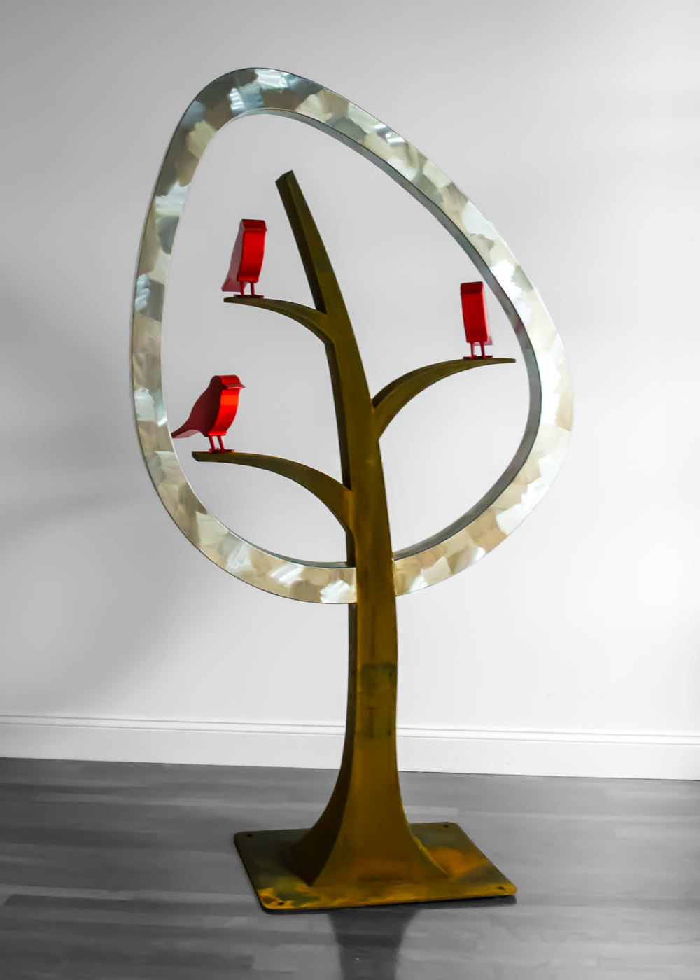 "Spring Awakening   6'2"" H x 3'6"" W x 1'0"" D  cor-ten and stainless steel with painted steel songbirds"