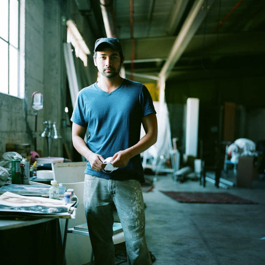 Artist Tobias Tovera in his studio. Image courtesy of Studio Journal Knock.